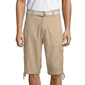 Akademiks Men's Cream Cargo Shorts Size 40